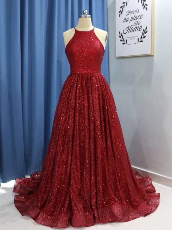 Yours Truly Princess Style Jewel Sweep/Brush Train Ruffles Sequins Dresses