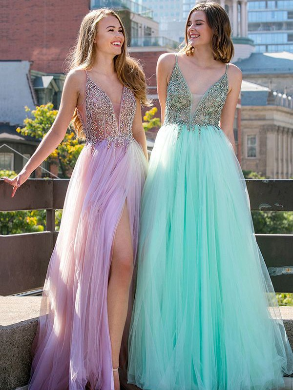 Fresh Picks Princess Style V-neck Floor-Length Beading Tulle Dresses