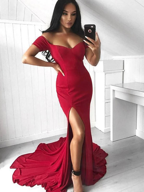 Naturally Chic Trumpet/Mermaid Style Off-the-Shoulder Court Train Ruffles Spandex Dresses