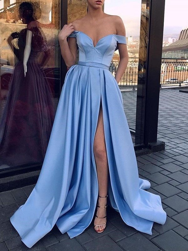 Absolute Lovely Princess Style Off-the-Shoulder Sweep/Brush Train Ruffles Satin Dresses