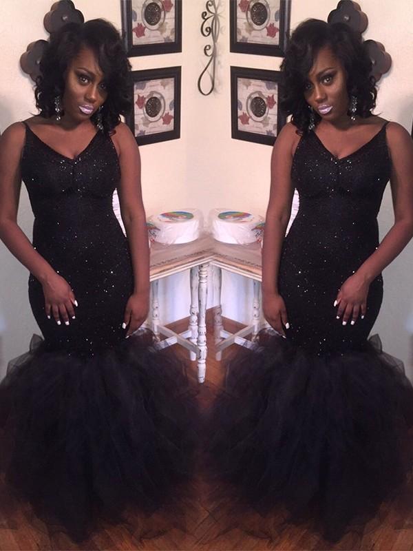 Time to Shine Mermaid Style V-neck Floor-Length Sequin Tulle Dresses