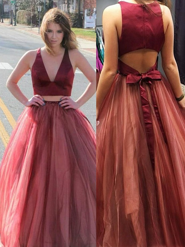 Efflorescent Dreams Princess Style V-neck Sweep/Brush Train Ruffles Tulle Two piece Dresses