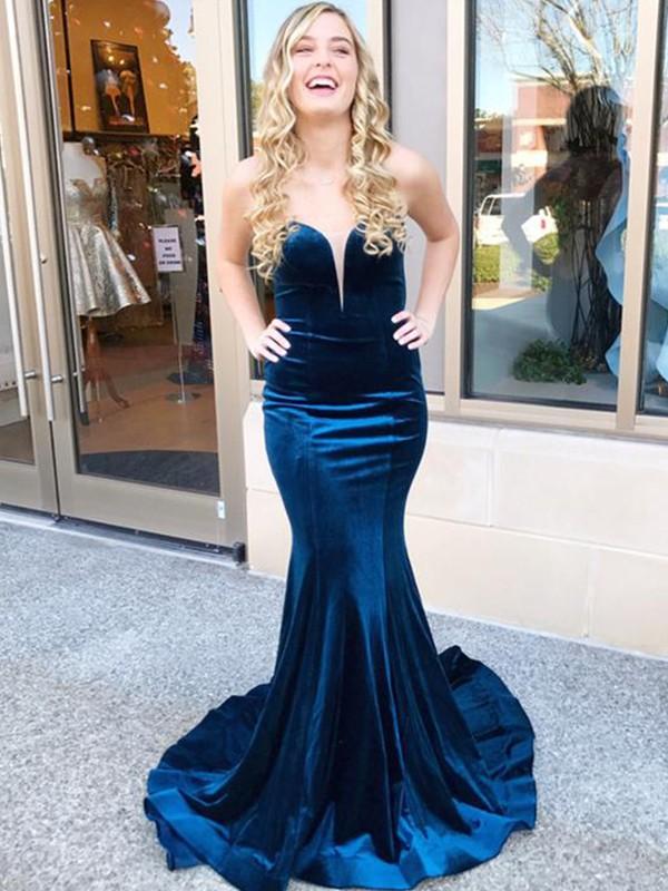Cheerful Spirit Mermaid Style Sweetheart Sweep/Brush Train Ruffles Velvet Dresses