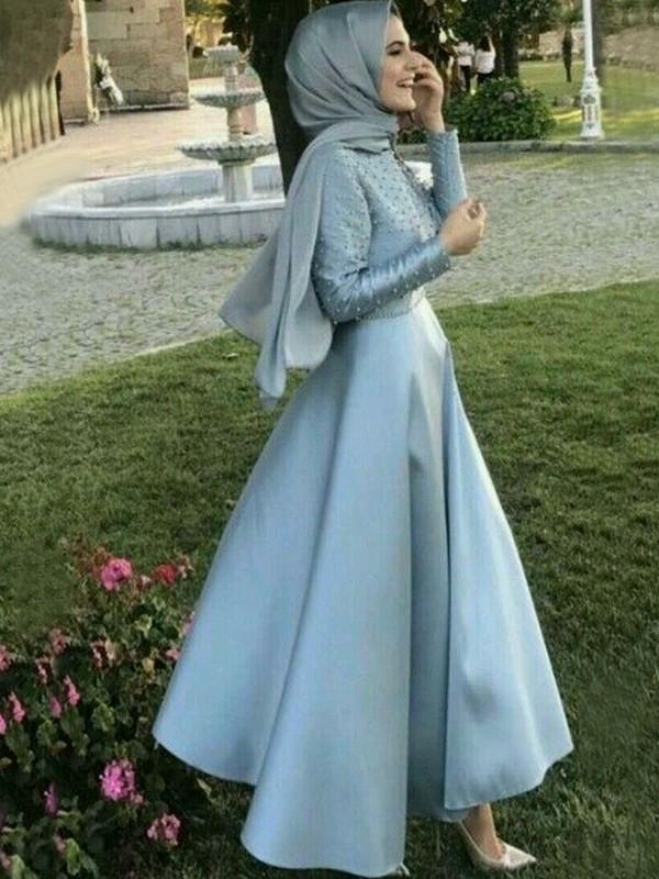 Memorable Magic Princess Style Scoop Floor-Length Beading Satin Muslim Dresses