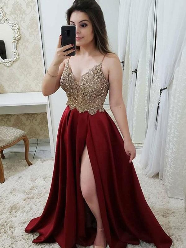 Savor the Occasion Princess Style Straps Sweep/Brush Train Beading Satin Dresses