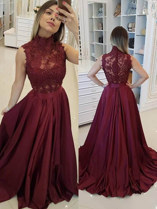 Absolute Lovely Princess Style High Neck Sweep/Brush Train Applique Satin Dresses