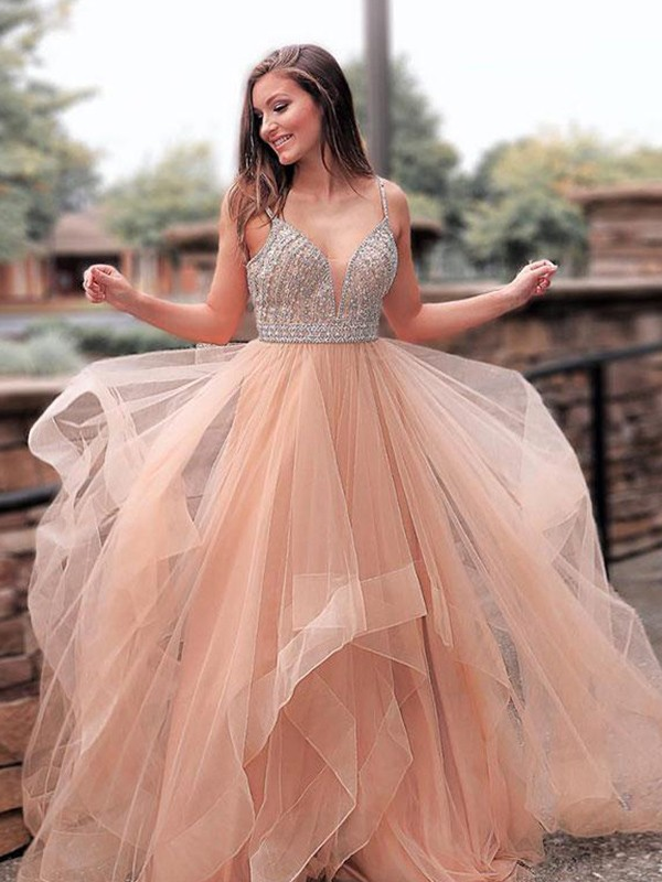Creative Courage Princess Style Straps Sweep/Brush Train Beading Tulle Dresses