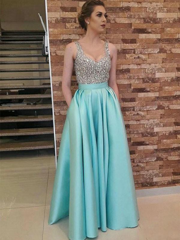 Voiced Vivacity Princess Style V-neck Floor-Length Beading Satin Dresses