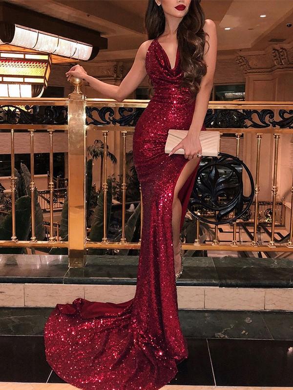 Pretty Looks Mermaid Style Sleeveless V-neck Sweep/Brush Train Ruffles Sequins Dresses