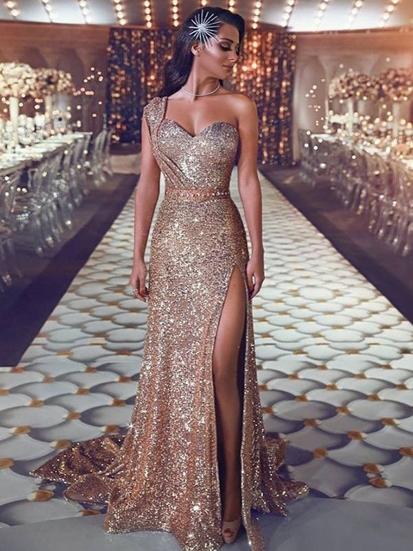 Dancing Queen Sheath Style Sleeveless One-Shoulder Sweep/Brush Train Beading Sequins Dresses