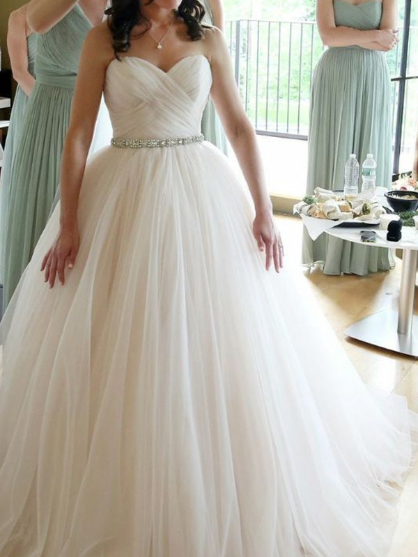 Absolute Lovely Ball Gown Sweetheart Sleeveless Floor-Length Beading Tulle Wedding Dresses