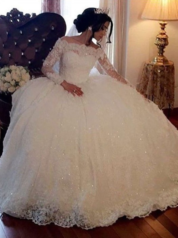 Pleasant Emphasis Ball Gown Bateau Long Sleeves Floor-Length Lace Tulle Wedding Dresses
