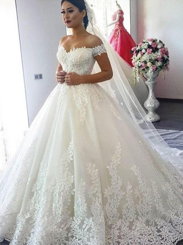 Chic Chic London Ball Gown Off-the-Shoulder Sleeveless Sweep/Brush Train Lace Tulle Wedding Dresses