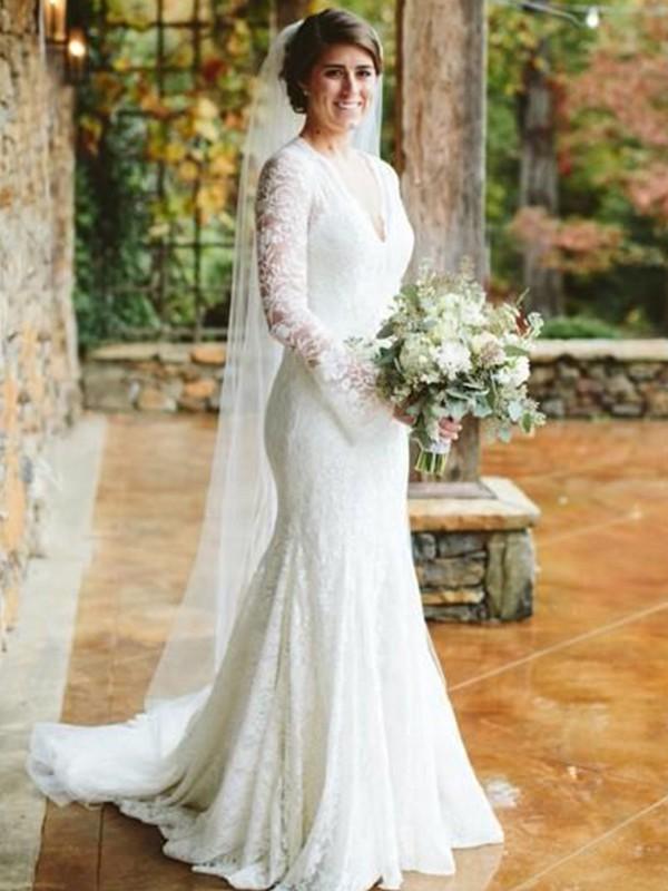 Automatic Classic Trumpet/Mermaid V-neck Long Sleeves Sweep/Brush Train Ruffles Lace Wedding Dresses