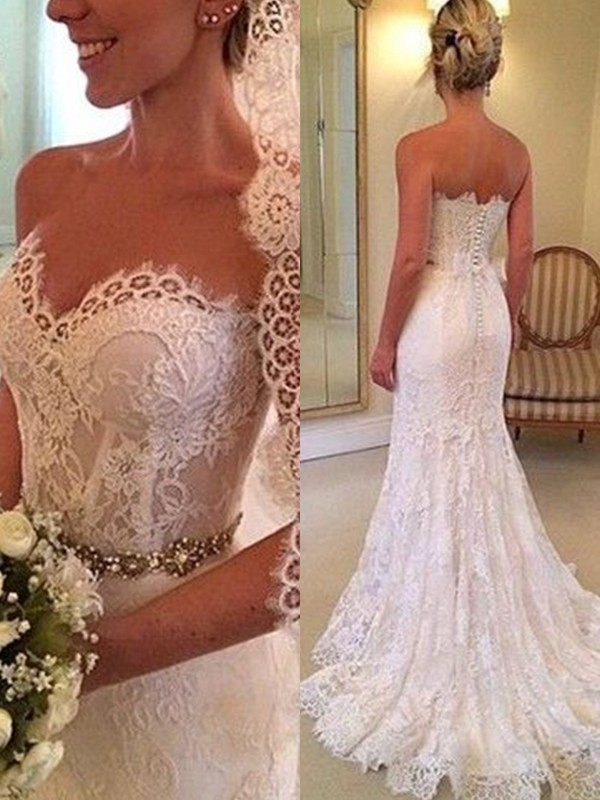 Confident Option Sheath Style Sweetheart Sleeveless Sweep/Brush Train Beading Lace Wedding Dresses