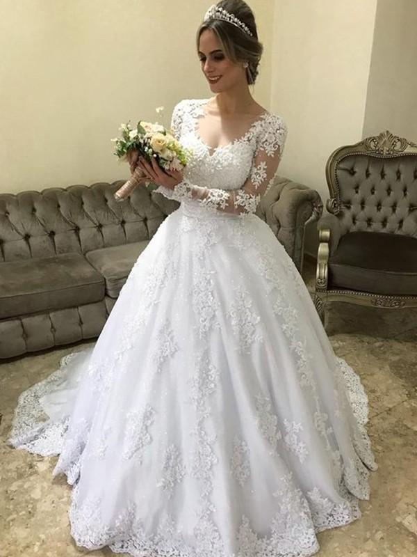 Cheerful Spirit Ball Gown V-neck Long Sleeves Sweep/Brush Train Applique Satin Wedding Dresses