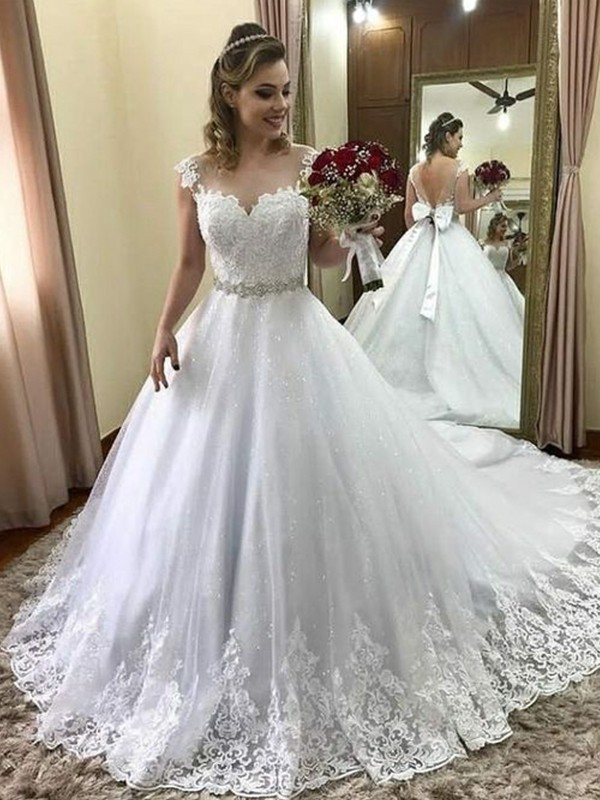 Defined Shine Ball Gown Sweetheart Sleeveless Court Train Beading Tulle Wedding Dresses