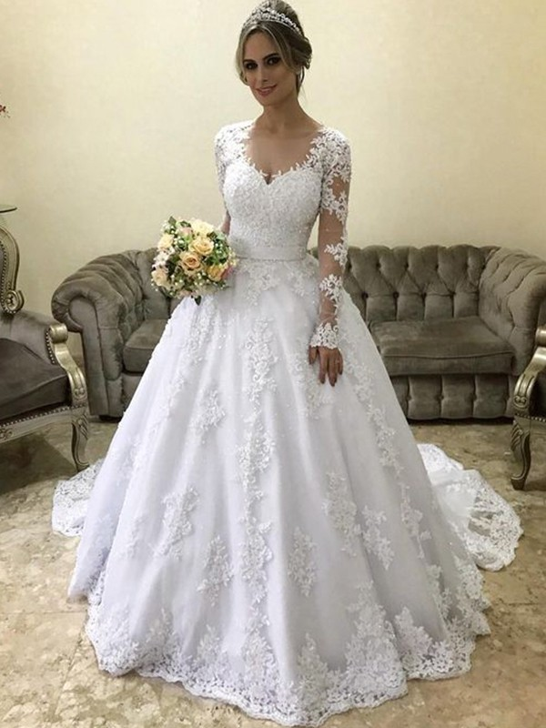 Open to Adoration Ball Gown V-neck Long Sleeves Court Train Applique Satin Wedding Dresses