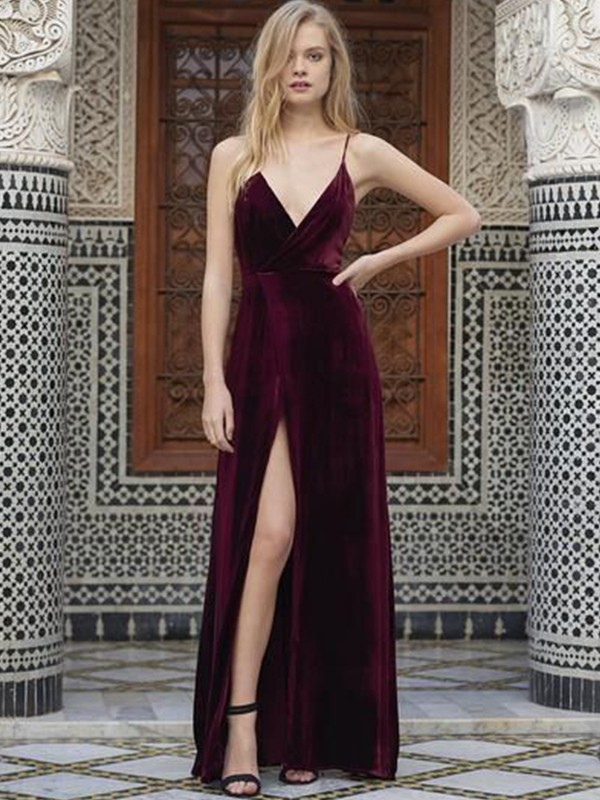 Time to Shine Princess Style Spaghetti Straps Sleeveless Floor-Length Ruffles Velvet Dresses