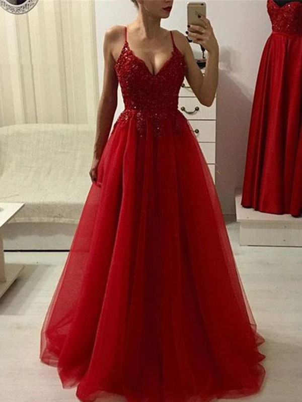 Limitless Looks Princess Style Spaghetti Straps Floor-Length With Applique Tulle Dresses