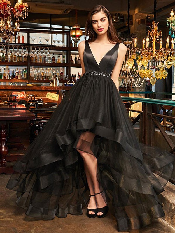 Pretty Looks Princess Style V-neck Asymmetrical With Ruffles Organza Dresses