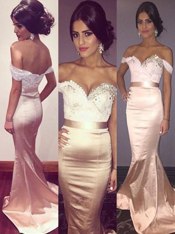 Too Much Fun Mermaid Style Off-the-Shoulder Sweep/Brush Train With Beading Silk like Satin Dresses