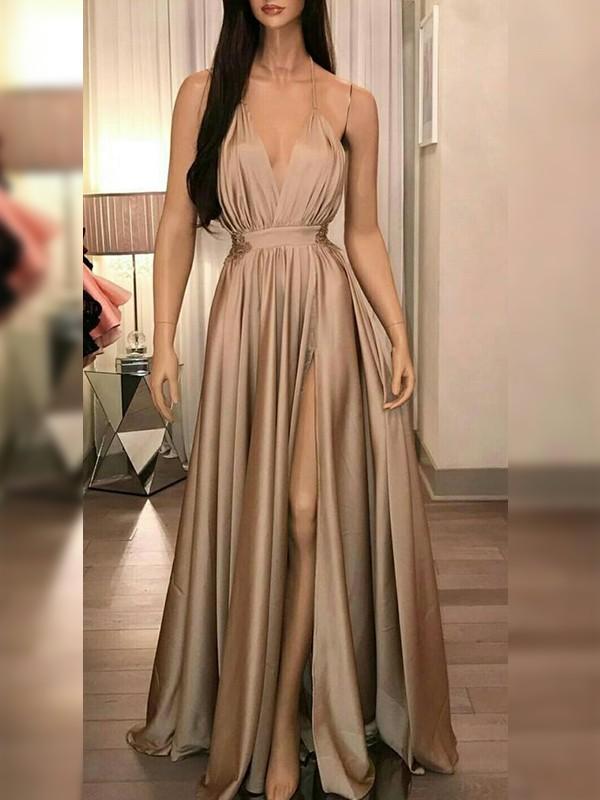Glitz the Spot Princess Style Silk like Satin With Ruffles Spaghetti Straps Floor-Length Dresses