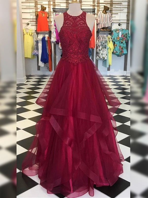 Eye-Catching Charm Princess Style Organza With Beading Scoop Floor-Length Dresses