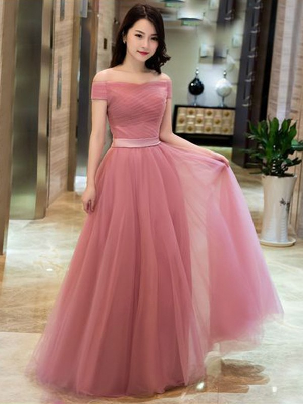 Pleasant Emphasis Princess Style Tulle With Ruffles Off-the-Shoulder Floor-Length Dresses