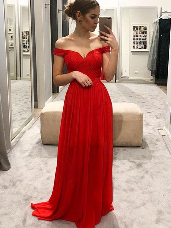 Pleased to be Me Princess Style Off-the-Shoulder Floor-Length With Ruffles Chiffon Dresses