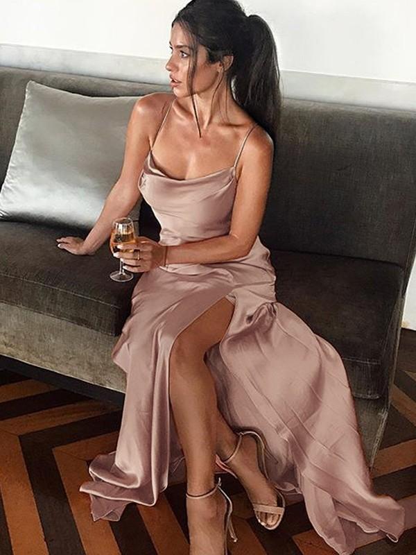 Aesthetic Honesty Sheath Style Spaghetti Straps Floor-Length Silk like Satin Dresses