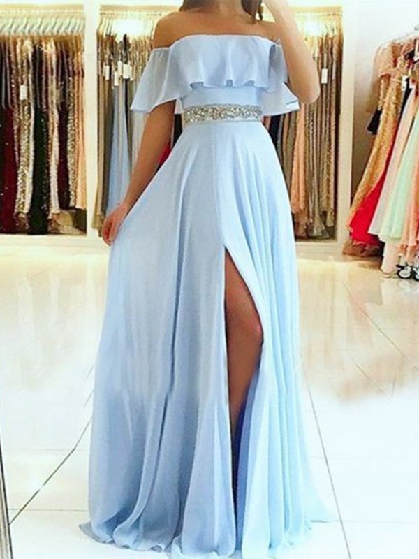 Pretty Looks Princess Style Off-the-Shoulder Floor-Length With Beading Chiffon Dresses