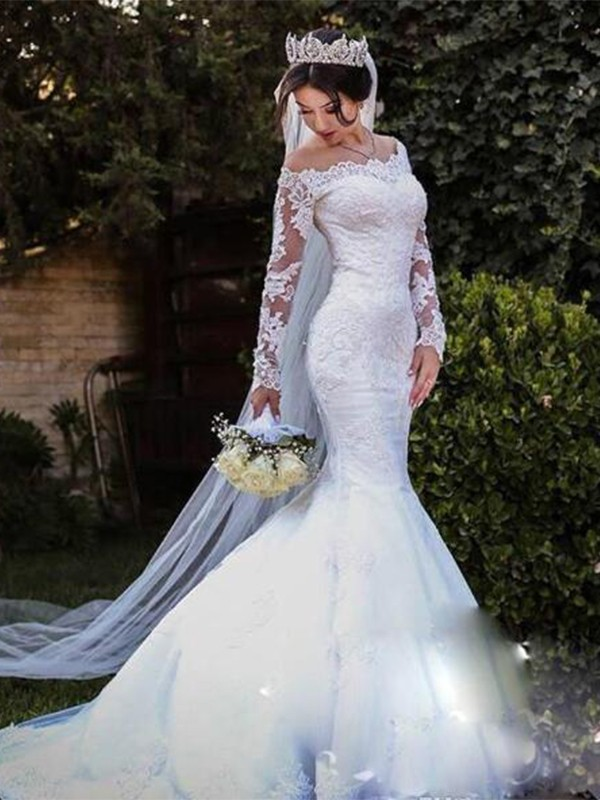 Open to Adoration Mermaid Style Tulle Lace Off-the-Shoulder Sweep/Brush Train Wedding Dresses