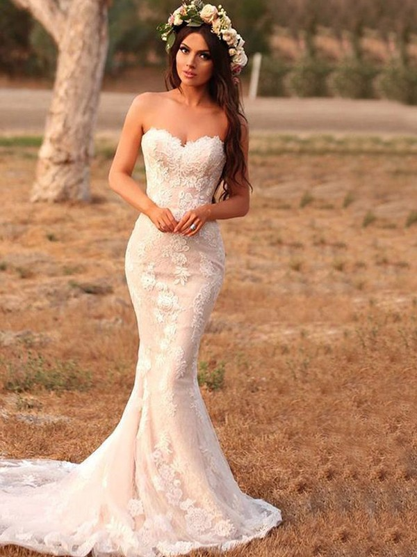 Memorable Magic Mermaid Style Lace With Applique Sweetheart Sweep/Brush Train Wedding Dresses