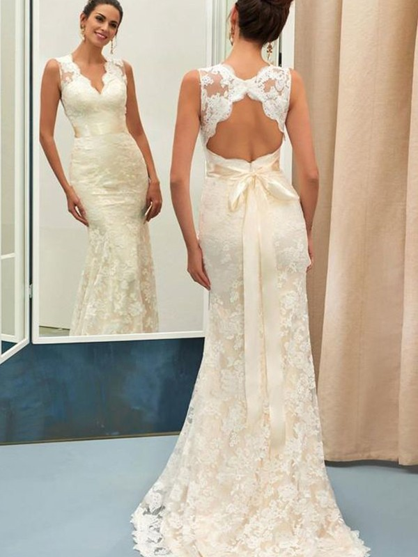 Romantic Vibes Mermaid Style Lace Sash/Ribbon/Belt V-neck Sweep/Brush Train Wedding Dresses