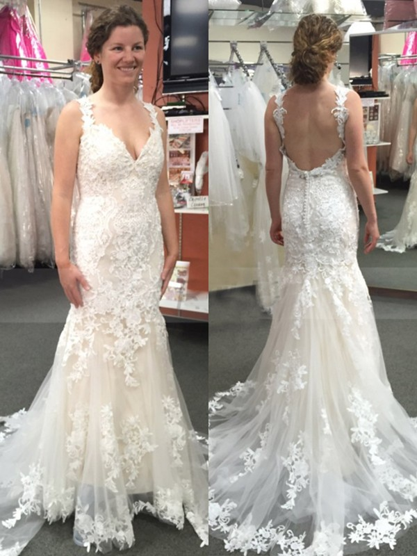 8625fbfcd88e Defined Shine Mermaid Style Tulle With Applique Straps Sweep/Brush Train  Wedding Dresses