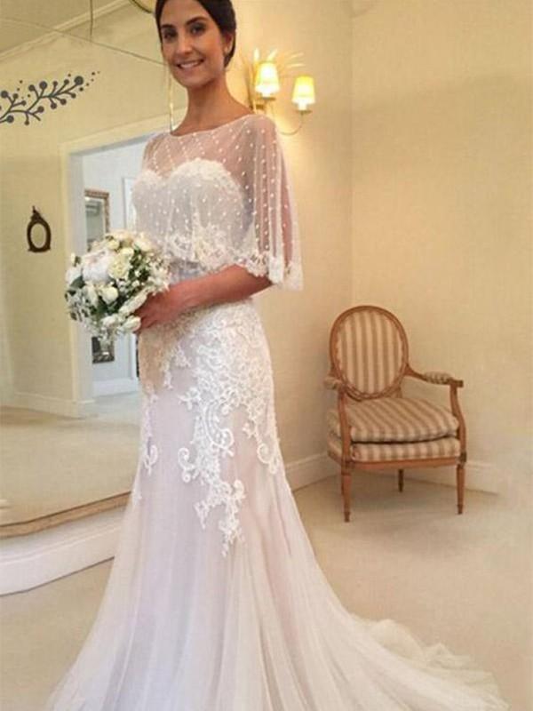 Fresh Picks Sheath Style Tulle With Applique Sweetheart Sweep/Brush Train Wedding Dresses