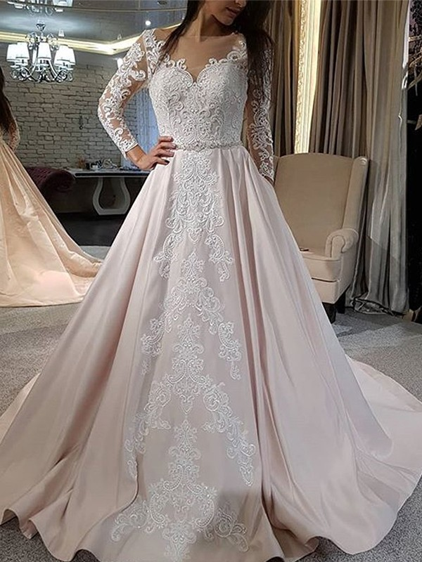 Yours Truly Princess Style Satin With Applique V-neck Sweep/Brush Train Wedding Dresses