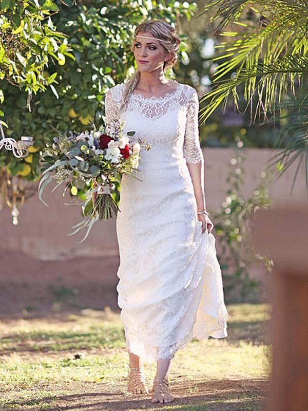 Easily Adored Sheath Style Lace Bateau Sweep/Brush Train Wedding Dresses