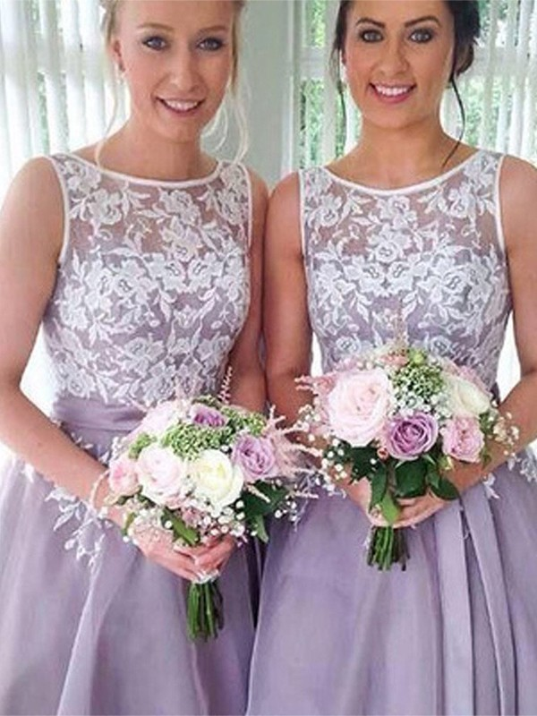 Embracing Grace Princess Style Sheer Neck Knee-Length With Applique Organza Bridesmaid Dresses