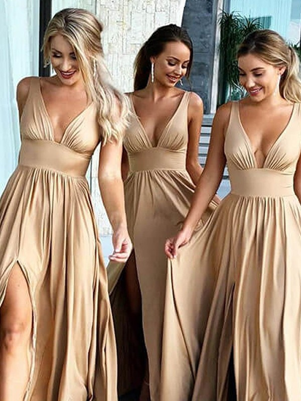 Voiced Vivacity Princess Style V-neck Sweep/Brush Train With Ruffles Silk like Satin Bridesmaid Dresses