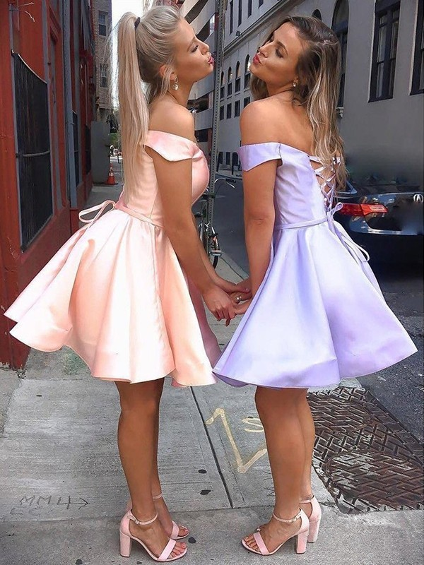 Glitz the Spot Princess Style Satin Ruffles Off-the-Shoulder Short/Mini Homecoming Dresses