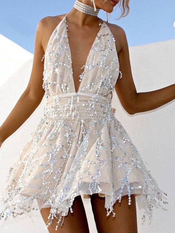 Absolute Lovely Princess Style Beading Halter Short/Mini Homecoming Dresses