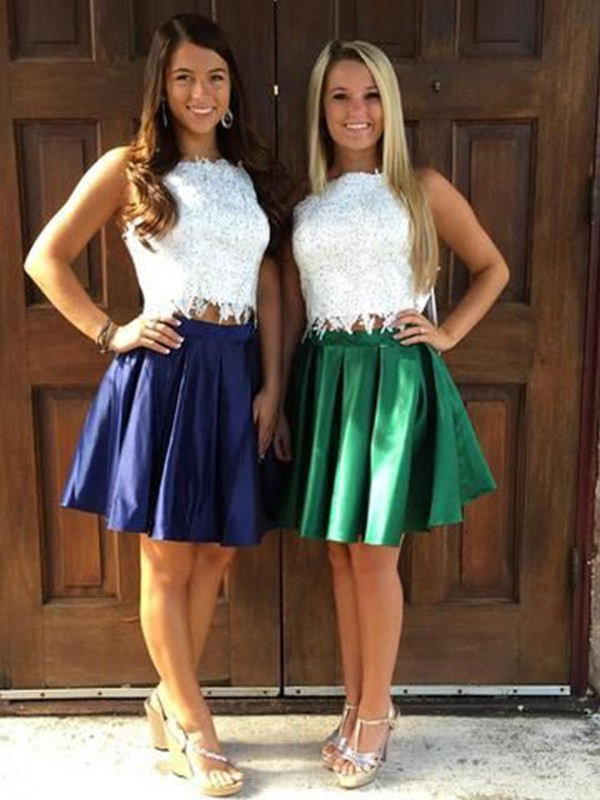 Pleasant Emphasis Princess Style Satin Ruffles Sheer Neck Short/Mini Two Piece Homecoming Dresses