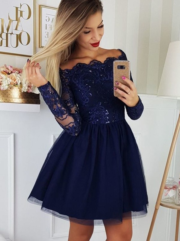 Treasured Reveries Princess Style Tulle Applique Off-the-Shoulder Long Sleeves Short/Mini Homecoming Dresses