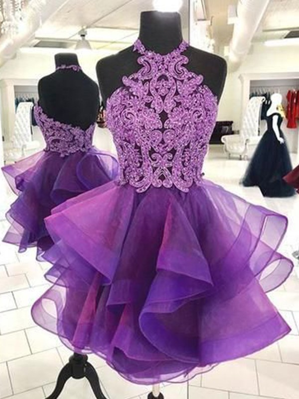 Voiced Vivacity Princess Style Organza Beading Halter Short/Mini Homecoming Dresses