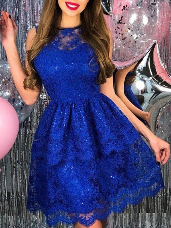 Cordially Delighted Princess Style Lace Applique Sheer Neck Short/Mini Homecoming Dresses