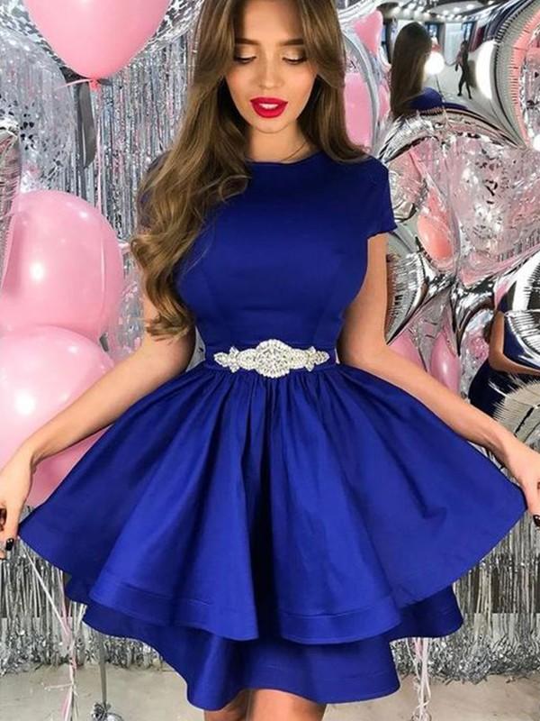 Festive Self Princess Style Satin Sash/Ribbon/Belt Sheer Neck Short Sleeves Short/Mini Homecoming Dresses