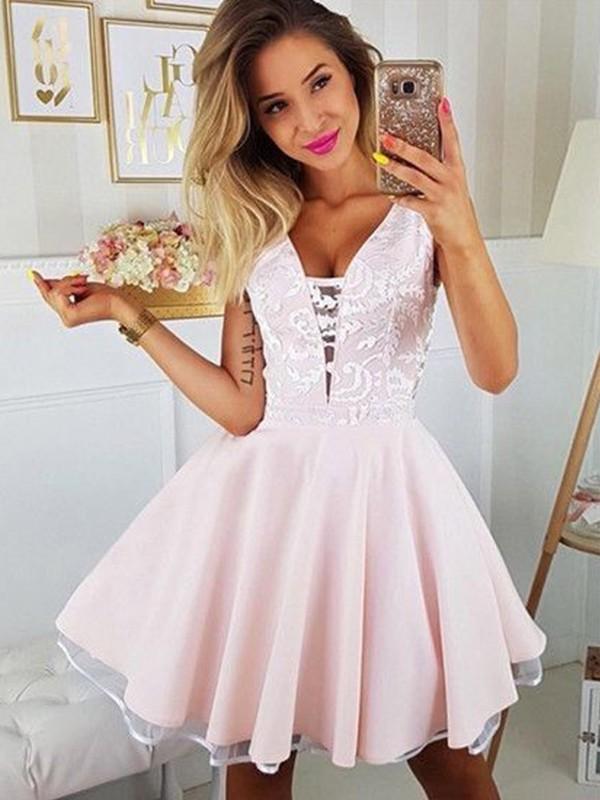 First Impressions Princess Style Satin Applique V-neck Short/Mini Homecoming Dresses