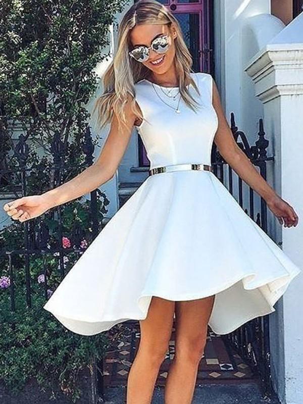 Visual Moment Princess Style Satin Sash/Ribbon/Belt Scoop Short/Mini Homecoming Dresses